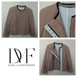 DVF | Pink Wool Lined Cropped Bomber Jacket